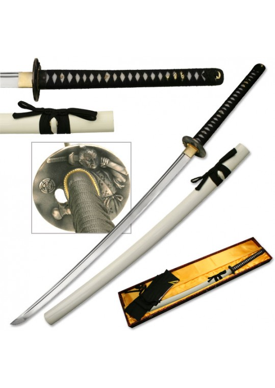 "HAND FORGED SAMURAI SWORD 43.7"" OVERALL"