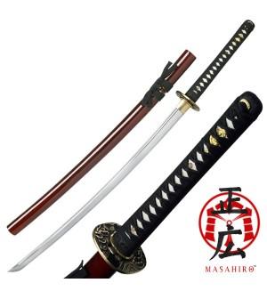 """Hand Forged Samurai Sword (40.9"""") Red Velvet Holder"""