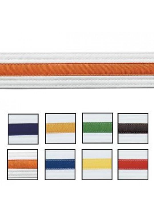 Double Wrap Striped White Belt