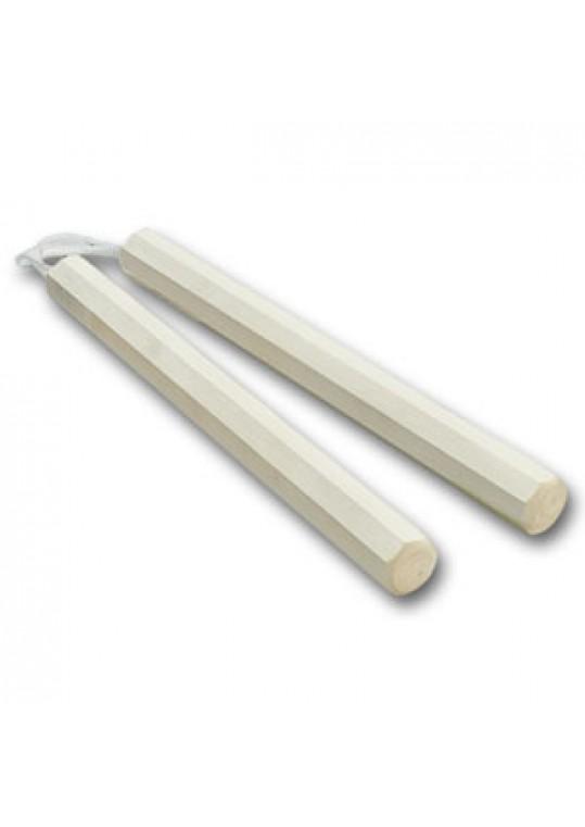 White Wax Wood Octagon Corded Nunchaku
