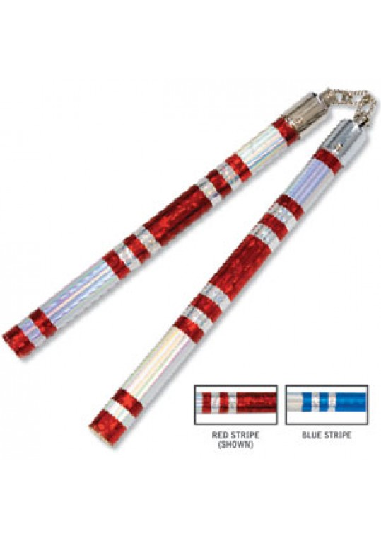 Chrome Stripe Taped Competition Nunchaku