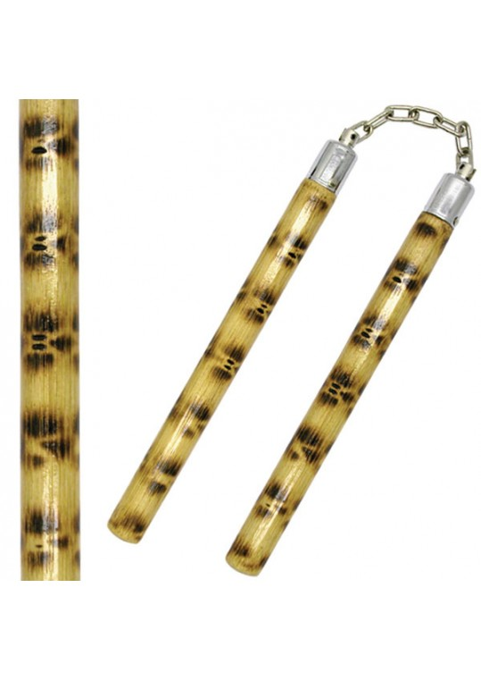 Burned Rattan Wood Nunchaku w/ Ball-Bearing